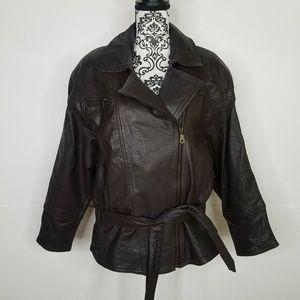 Vintage Brown Leather Bomber Jacket Belted Spiegel